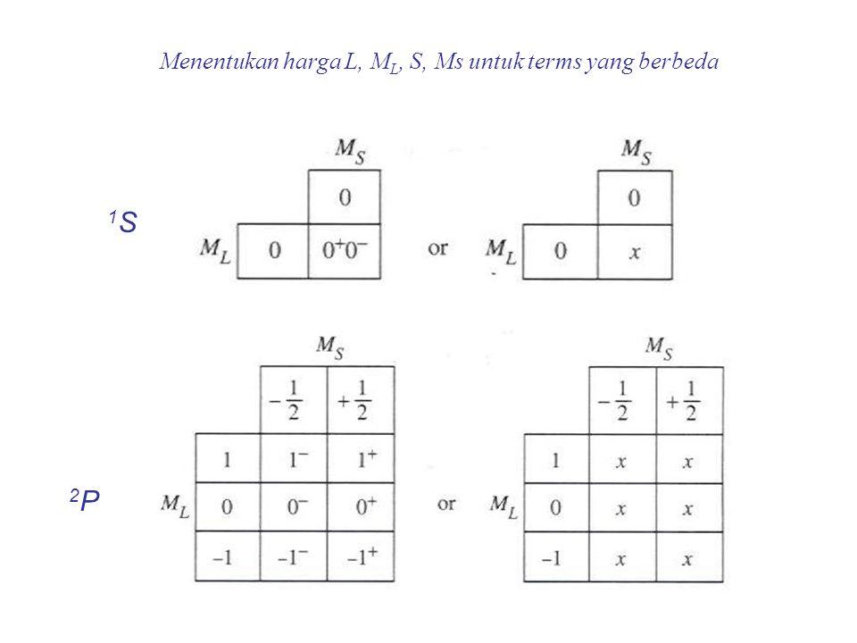 Menentukan harga L, ML, S, Ms untuk terms yang berbeda