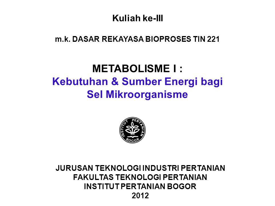 m.k. DASAR REKAYASA BIOPROSES TIN 221 Kebutuhan & Sumber Energi bagi