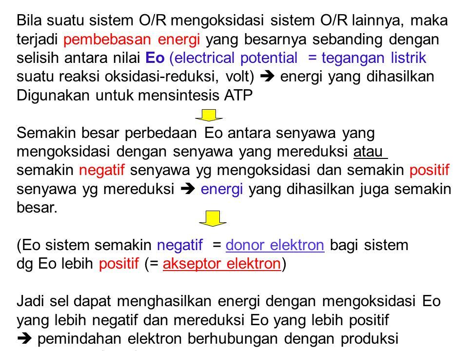 Bila suatu sistem O/R mengoksidasi sistem O/R lainnya, maka