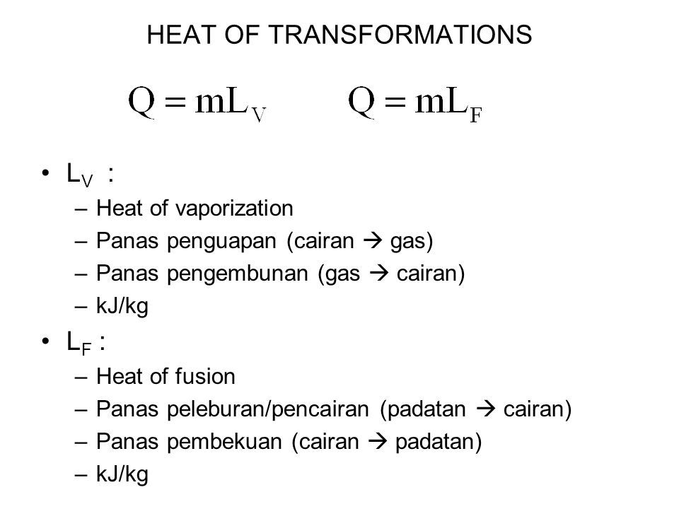 HEAT OF TRANSFORMATIONS