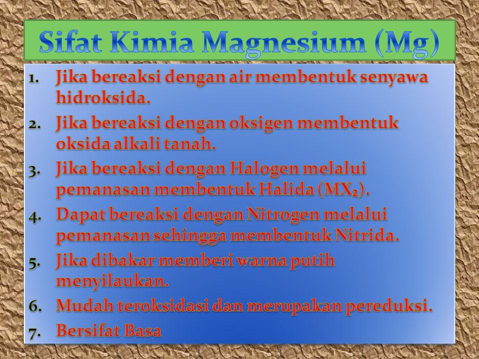 Sifat Kimia Magnesium (Mg)