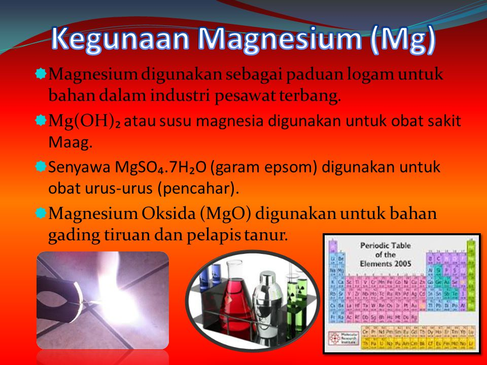 Kegunaan Magnesium (Mg)