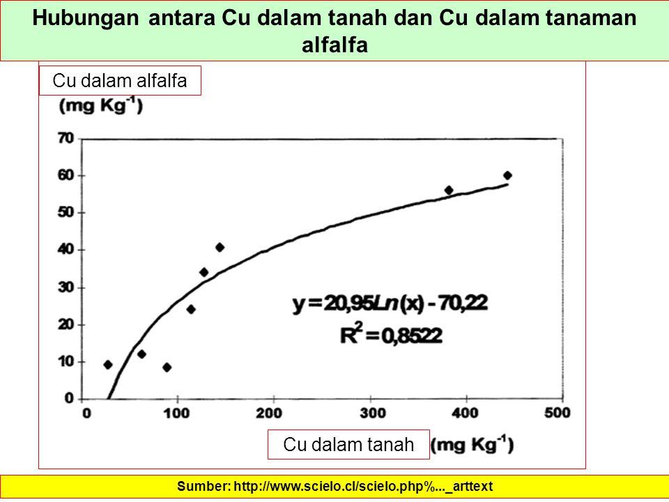 Hubungan antara Cu dalam tanah dan Cu dalam tanaman alfalfa