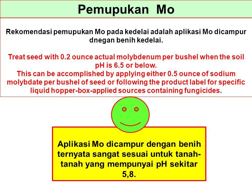 Pemupukan Mo Rekomendasi pemupukan Mo pada kedelai adalah aplikasi Mo dicampur dnegan benih kedelai.