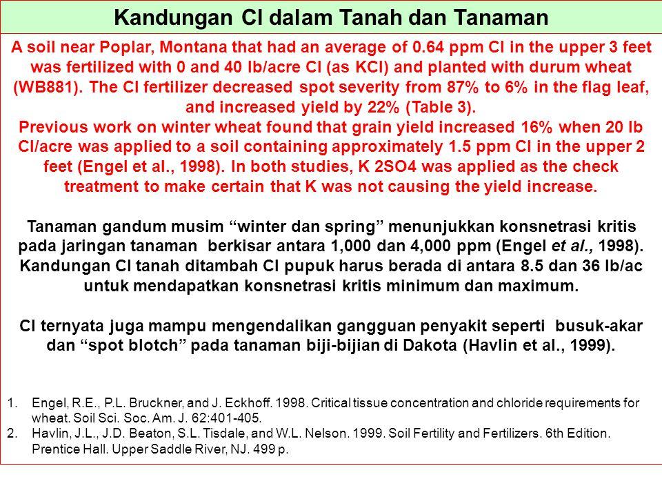 Kandungan Cl dalam Tanah dan Tanaman