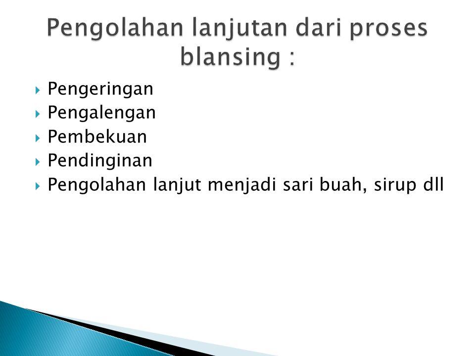 Pengolahan lanjutan dari proses blansing :