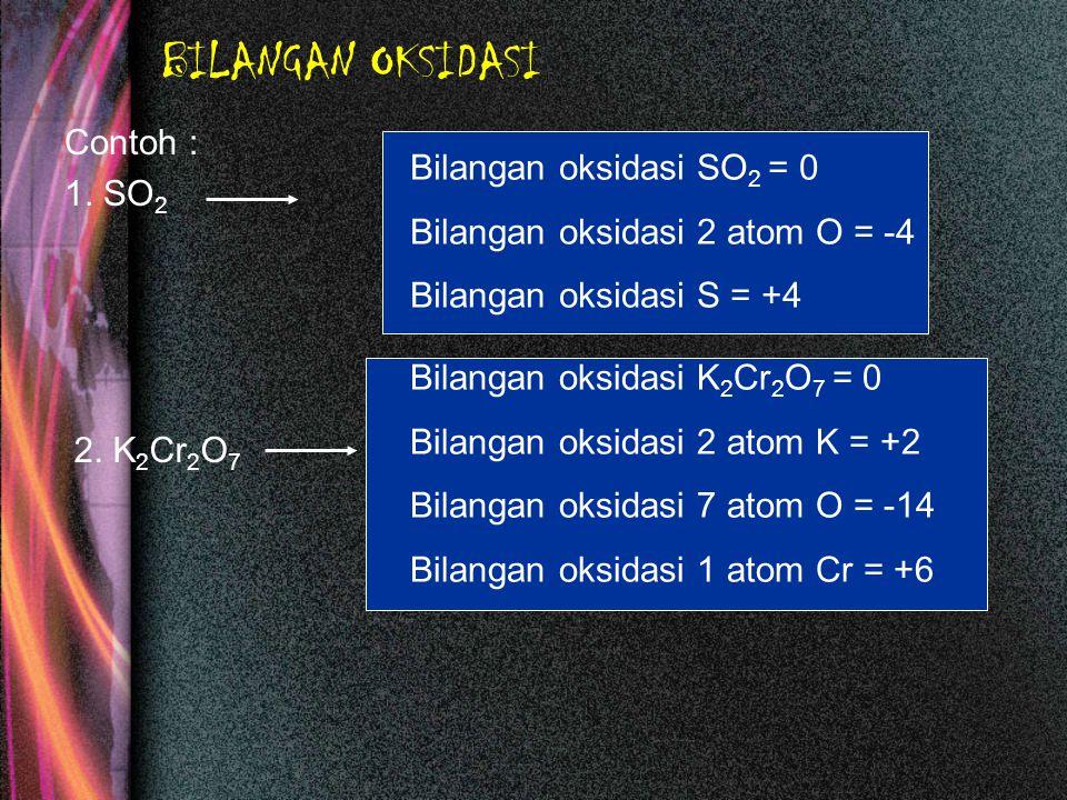 BILANGAN OKSIDASI Contoh : 1. SO2 Bilangan oksidasi SO2 = 0