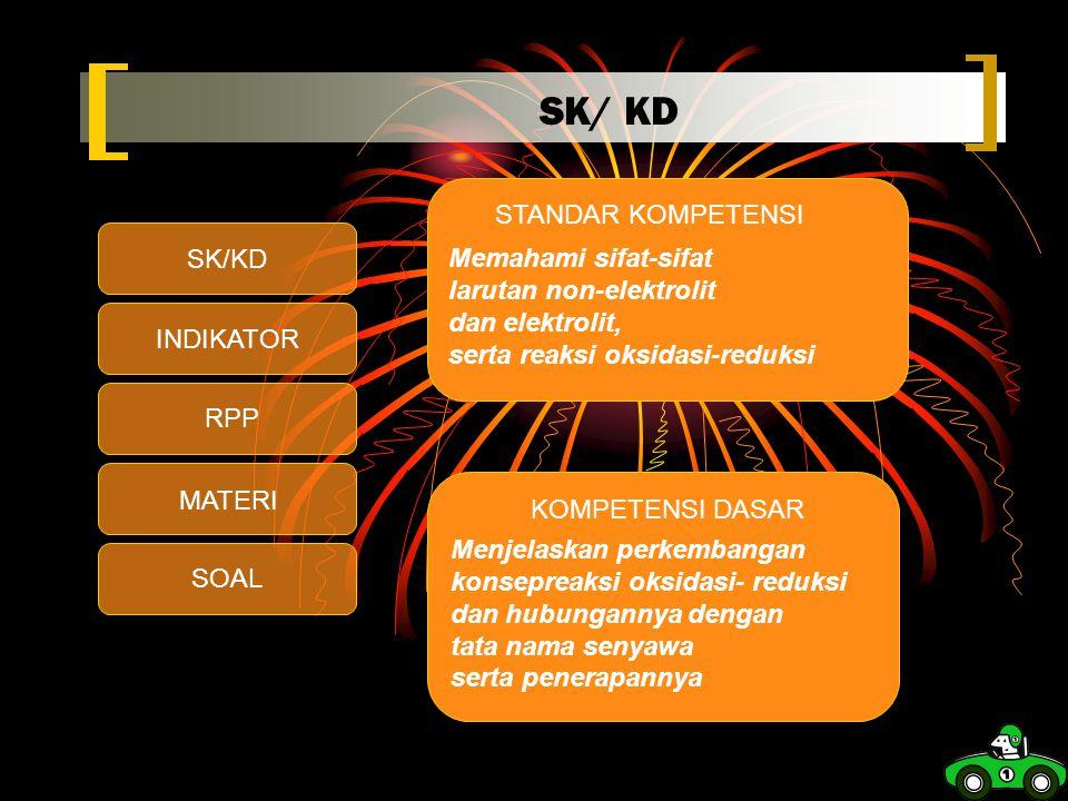 SK/ KD STANDAR KOMPETENSI Memahami sifat-sifat larutan non-elektrolit