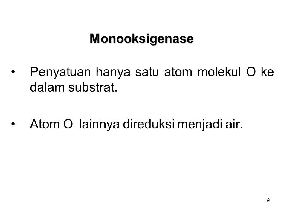 Monooksigenase Penyatuan hanya satu atom molekul O ke dalam substrat.