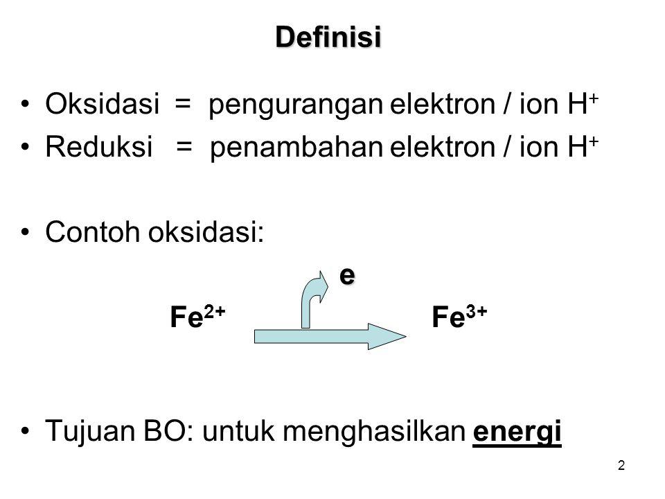 Definisi Oksidasi = pengurangan elektron / ion H+ Reduksi = penambahan elektron / ion H+ Contoh oksidasi: