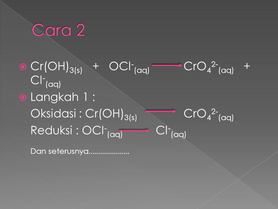 Cara 2 Cr(OH)3(s) + OCl-(aq) CrO42-(aq) + Cl-(aq) Langkah 1 :