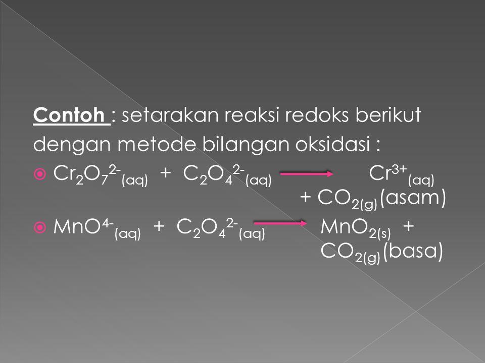 Contoh : setarakan reaksi redoks berikut