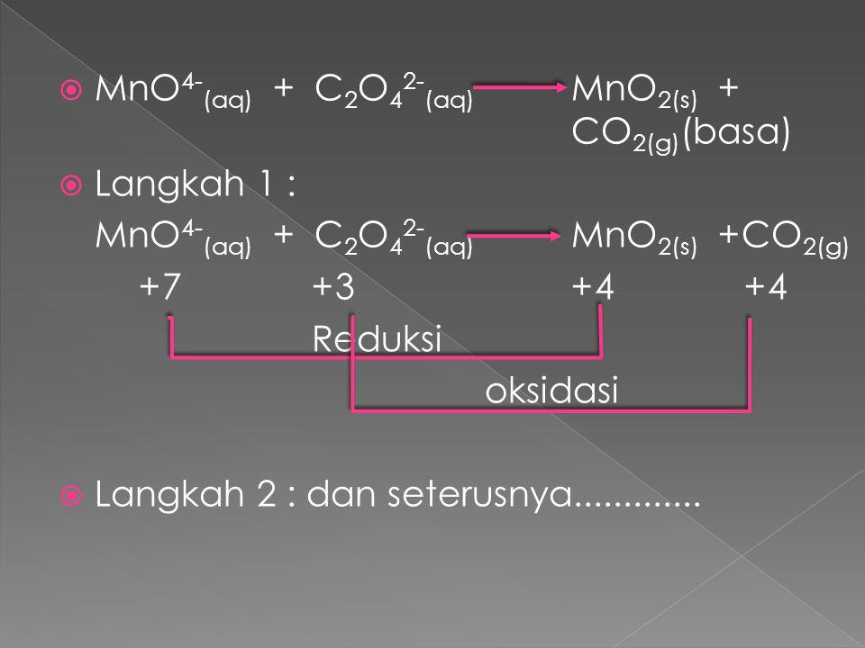 MnO4-(aq) + C2O42-(aq) MnO2(s) + CO2(g)(basa)