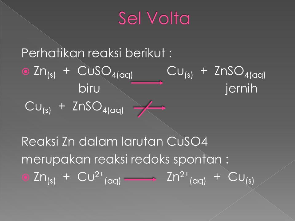 Sel Volta Perhatikan reaksi berikut :