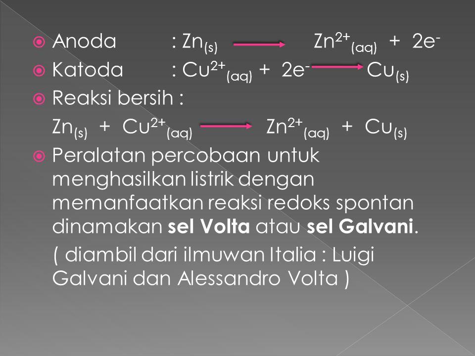 Anoda : Zn(s) Zn2+(aq) + 2e-