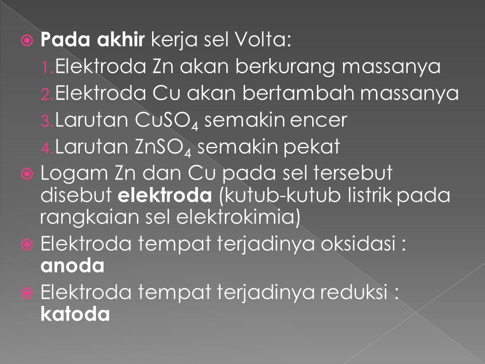 Pada akhir kerja sel Volta: