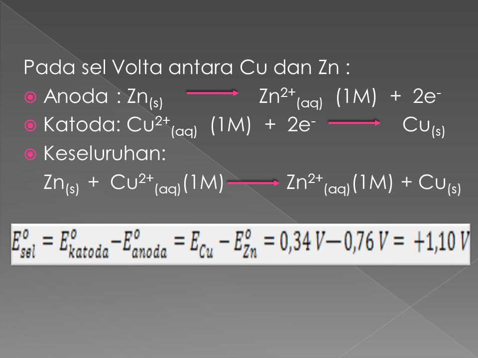 Pada sel Volta antara Cu dan Zn :
