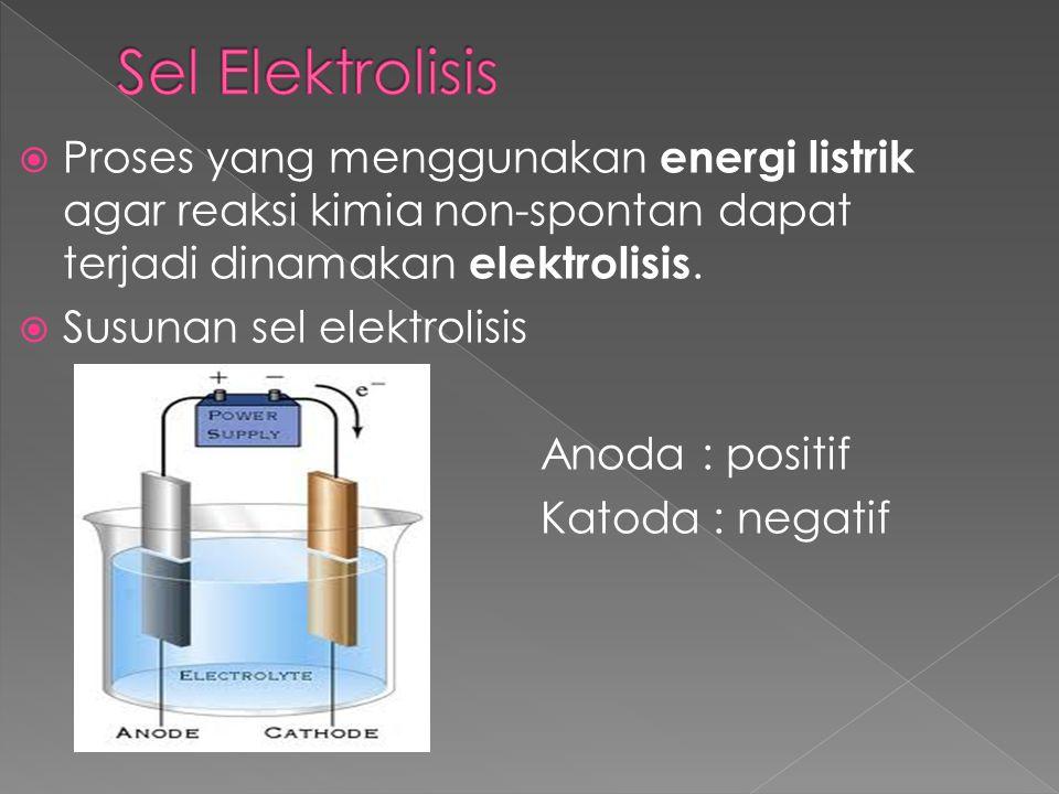 Sel Elektrolisis Proses yang menggunakan energi listrik agar reaksi kimia non-spontan dapat terjadi dinamakan elektrolisis.