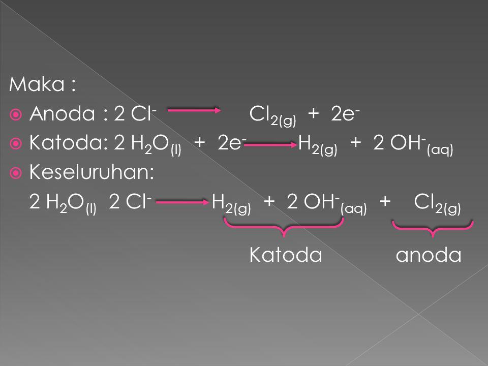 Maka : Anoda : 2 Cl- Cl2(g) + 2e- Katoda: 2 H2O(l) + 2e- H2(g) + 2 OH-(aq) Keseluruhan: