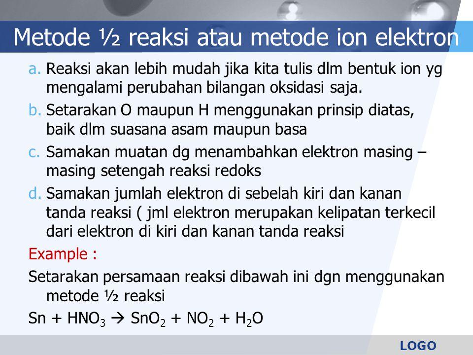 Metode ½ reaksi atau metode ion elektron