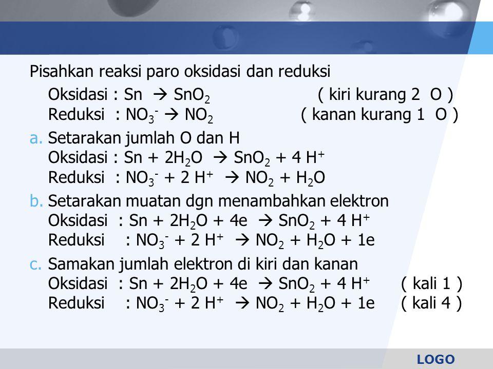 Pisahkan reaksi paro oksidasi dan reduksi