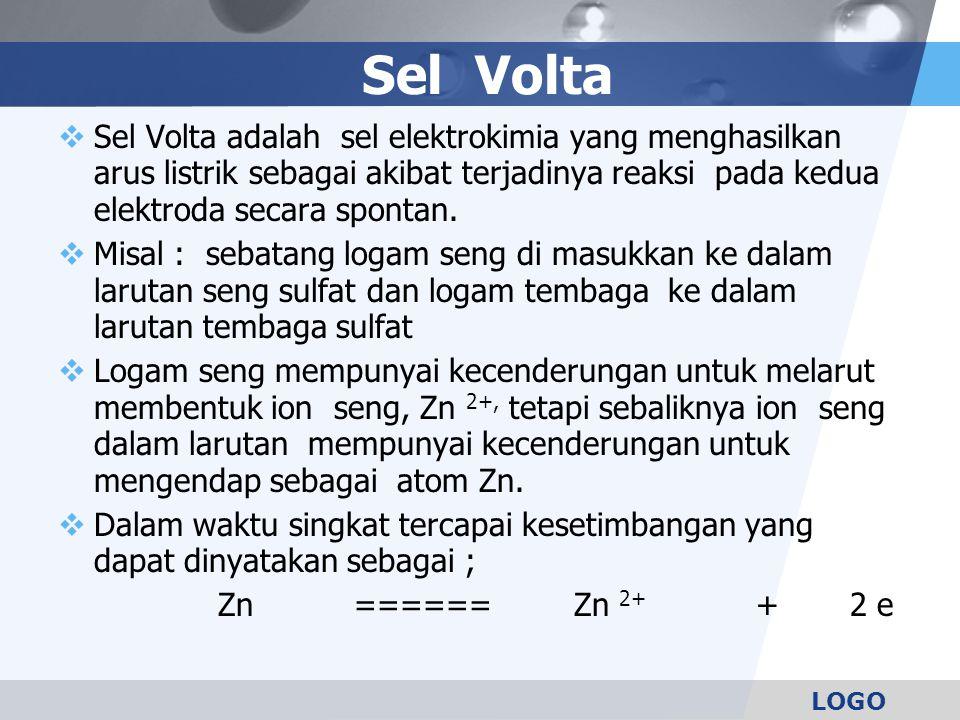 Sel Volta Sel Volta adalah sel elektrokimia yang menghasilkan arus listrik sebagai akibat terjadinya reaksi pada kedua elektroda secara spontan.