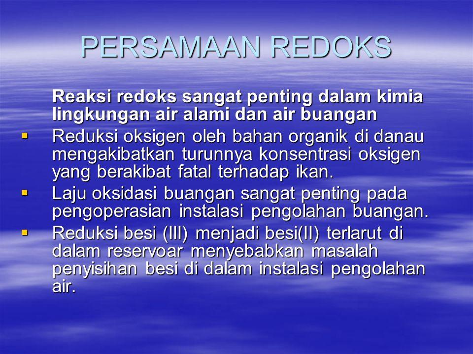 PERSAMAAN REDOKS Reaksi redoks sangat penting dalam kimia lingkungan air alami dan air buangan.