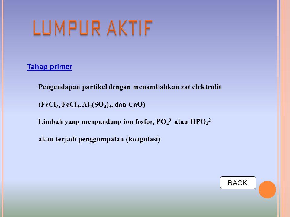 Tahap primer Pengendapan partikel dengan menambahkan zat elektrolit. (FeCl2, FeCl3, Al2(SO4)3, dan CaO)