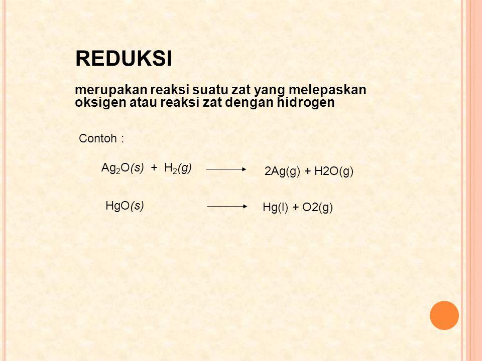 REDUKSI merupakan reaksi suatu zat yang melepaskan oksigen atau reaksi zat dengan hidrogen. Contoh :
