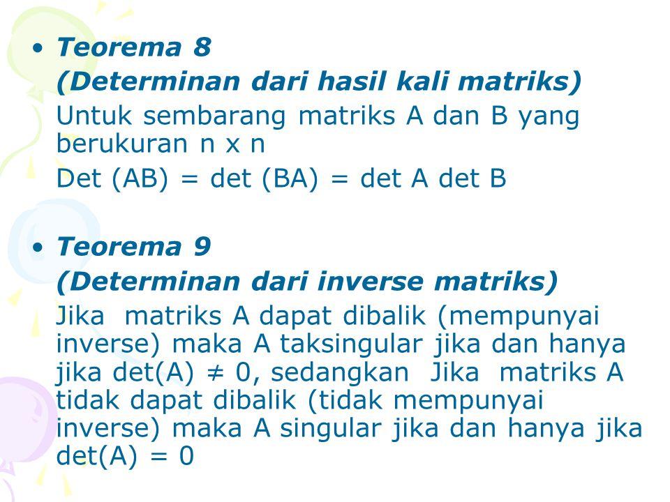 Teorema 8 (Determinan dari hasil kali matriks) Untuk sembarang matriks A dan B yang berukuran n x n.