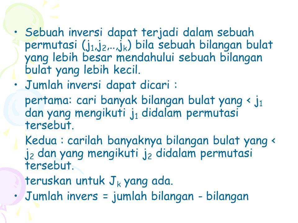 Sebuah inversi dapat terjadi dalam sebuah permutasi (j1,j2,