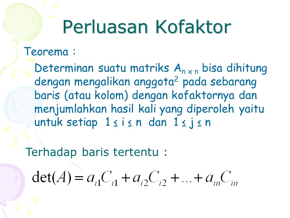 Perluasan Kofaktor Teorema :