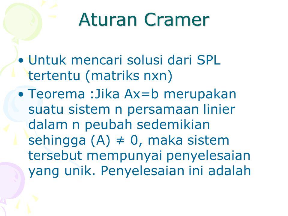 Aturan Cramer Untuk mencari solusi dari SPL tertentu (matriks nxn)