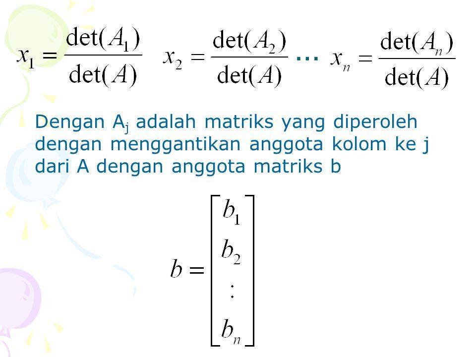 … Dengan Aj adalah matriks yang diperoleh dengan menggantikan anggota kolom ke j dari A dengan anggota matriks b.