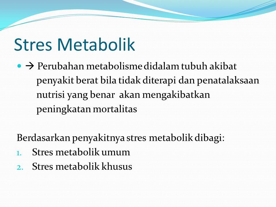 Stres Metabolik  Perubahan metabolisme didalam tubuh akibat
