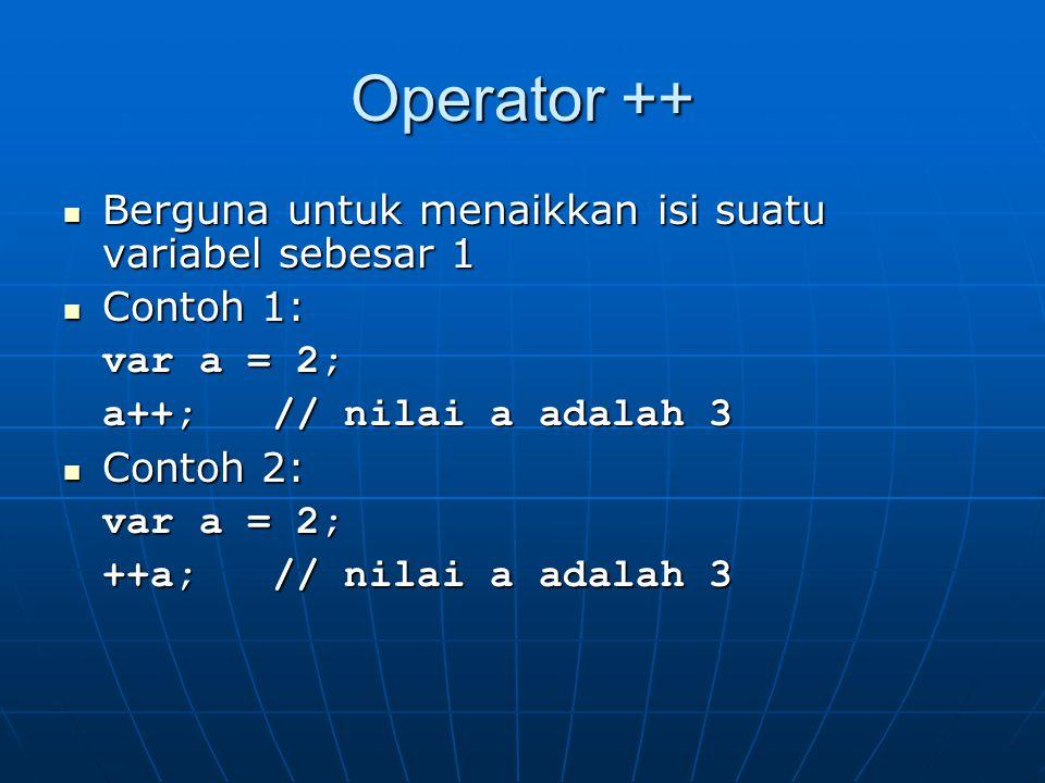 Operator ++ Berguna untuk menaikkan isi suatu variabel sebesar 1
