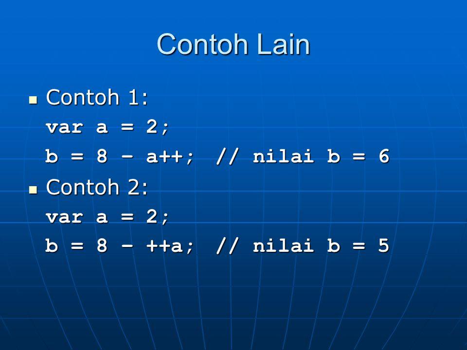 Contoh Lain Contoh 1: var a = 2; b = 8 – a++; // nilai b = 6 Contoh 2: