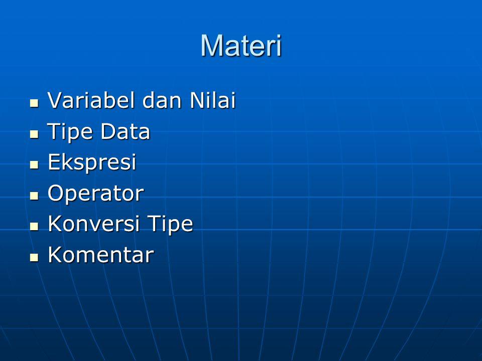 Materi Variabel dan Nilai Tipe Data Ekspresi Operator Konversi Tipe