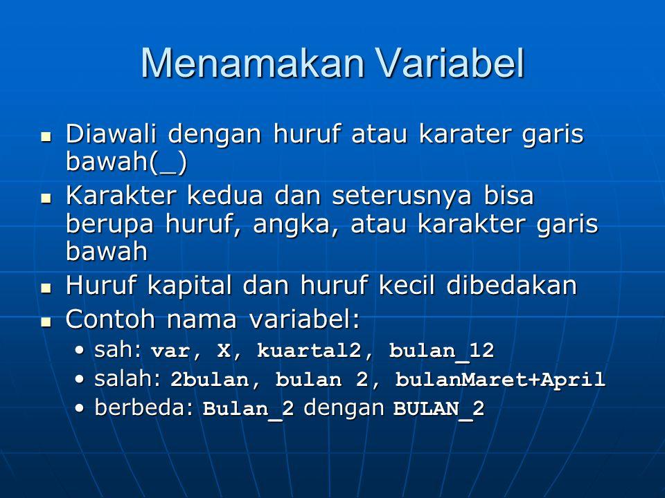 Menamakan Variabel Diawali dengan huruf atau karater garis bawah(_)
