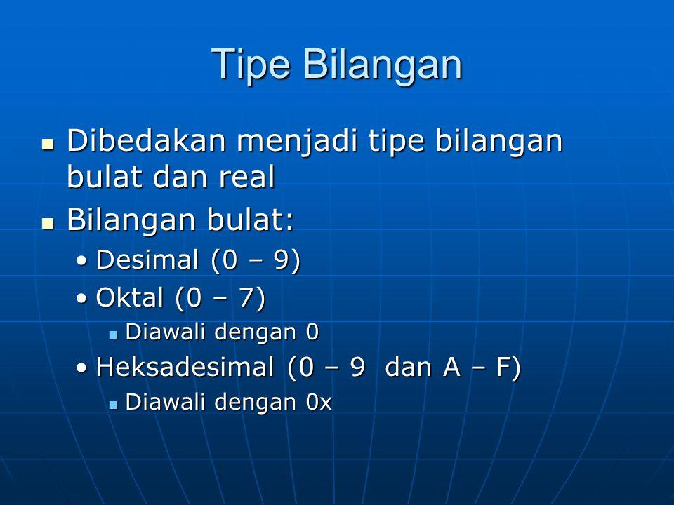 Tipe Bilangan Dibedakan menjadi tipe bilangan bulat dan real