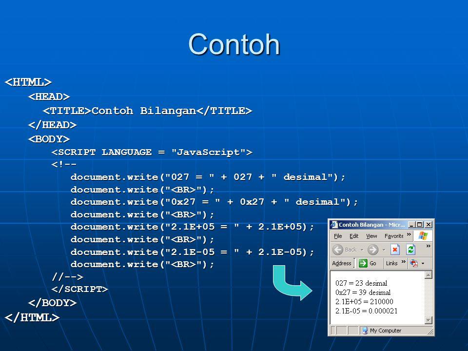 Contoh <HTML> </HTML> <HEAD>
