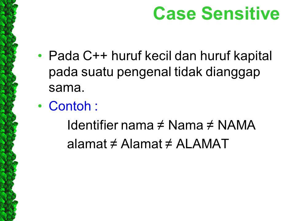Case Sensitive Pada C++ huruf kecil dan huruf kapital pada suatu pengenal tidak dianggap sama. Contoh :