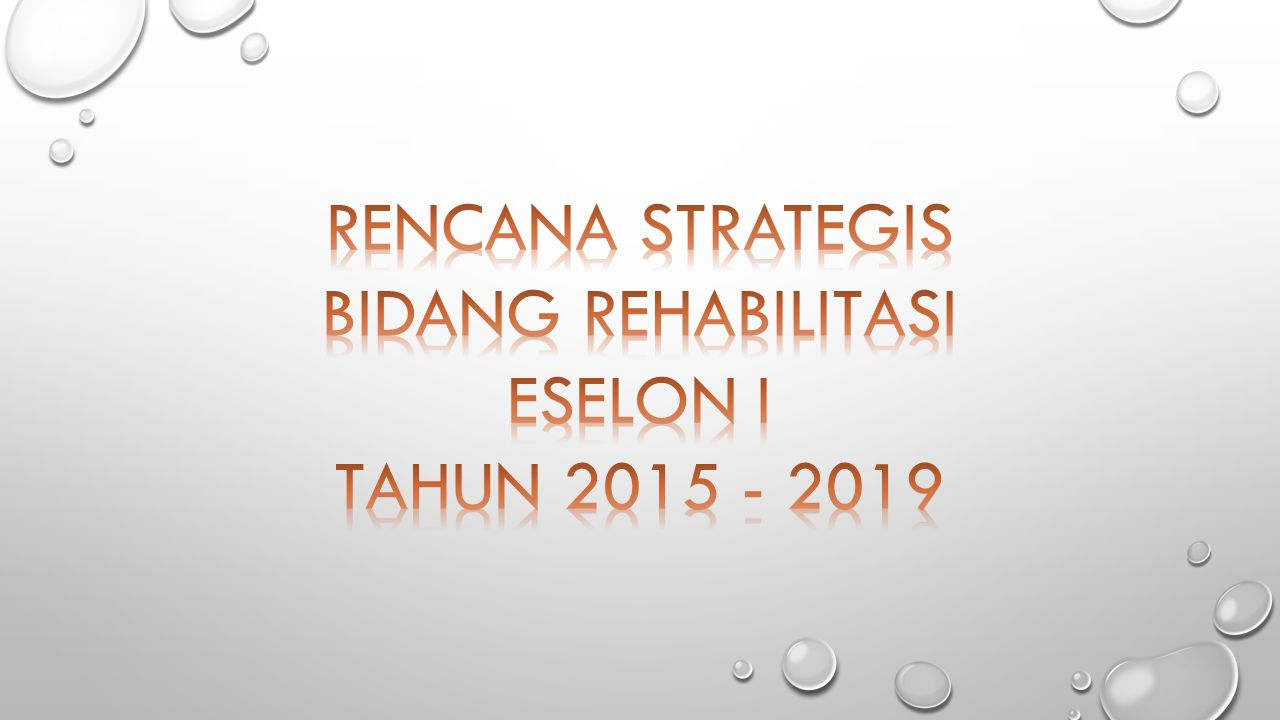 RENCANA STRATEGIS BIDANG REHABILITASI ESELON I TAHUN 2015 - 2019