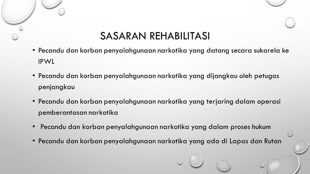 SASARAN REHABILITASI Pecandu dan korban penyalahgunaan narkotika yang datang secara sukarela ke IPWL.