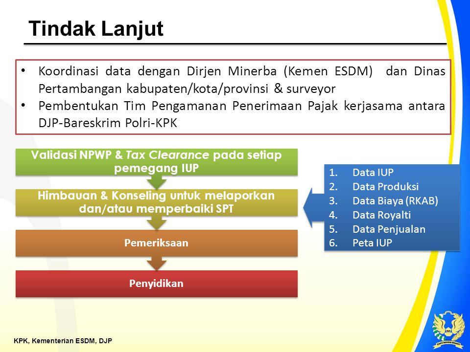 Tindak Lanjut Koordinasi data dengan Dirjen Minerba (Kemen ESDM) dan Dinas Pertambangan kabupaten/kota/provinsi & surveyor.