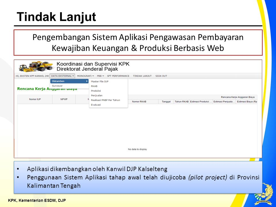 Tindak Lanjut Pengembangan Sistem Aplikasi Pengawasan Pembayaran Kewajiban Keuangan & Produksi Berbasis Web.