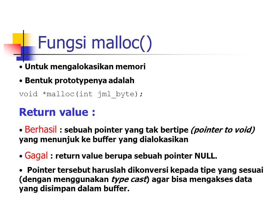 Fungsi malloc() Return value : Untuk mengalokasikan memori