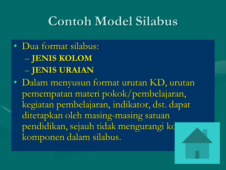 Contoh Model Silabus Dua format silabus: