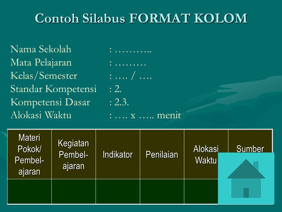 Contoh Silabus FORMAT KOLOM