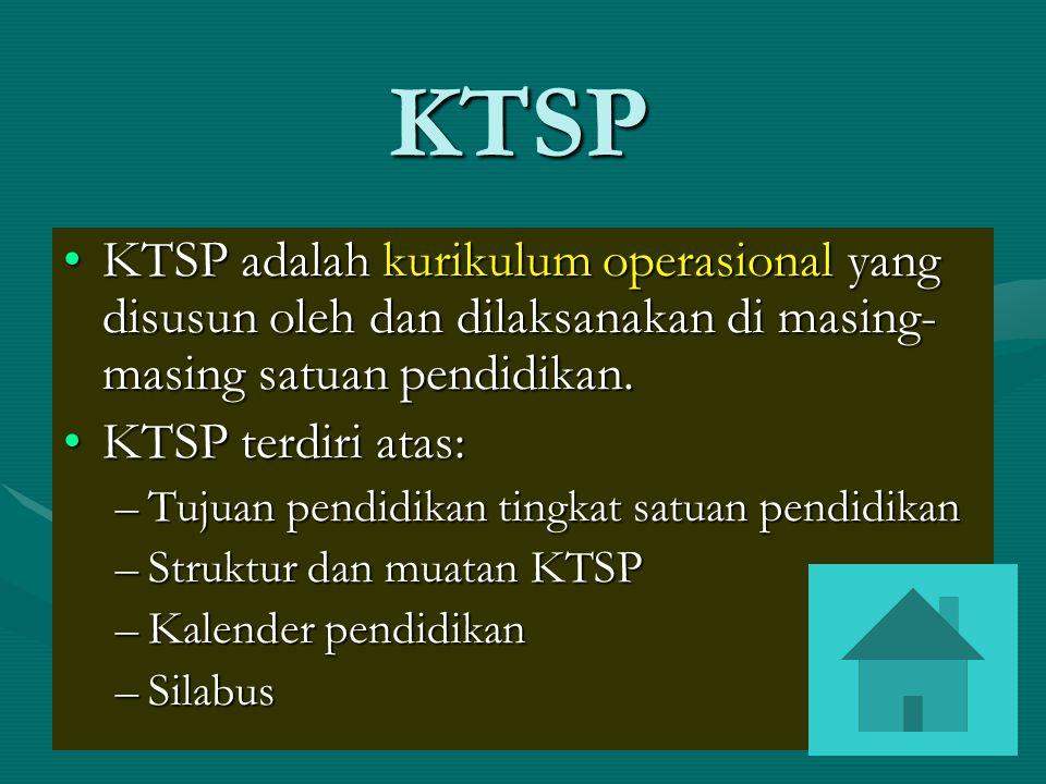 KTSP KTSP adalah kurikulum operasional yang disusun oleh dan dilaksanakan di masing-masing satuan pendidikan.